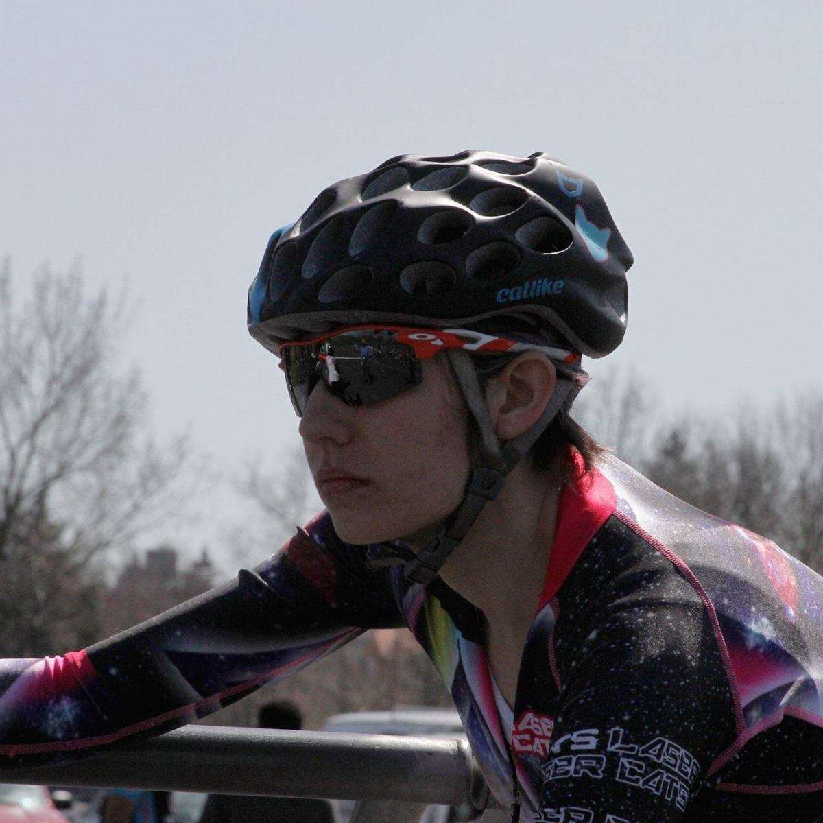Woman racing on a velodrome