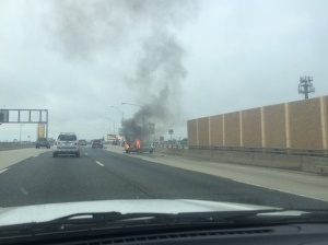 Car on fire on the side of the interstate, Philadelphia