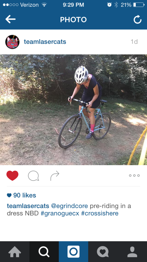 Riding a cyclocross bike in a dress. NBD