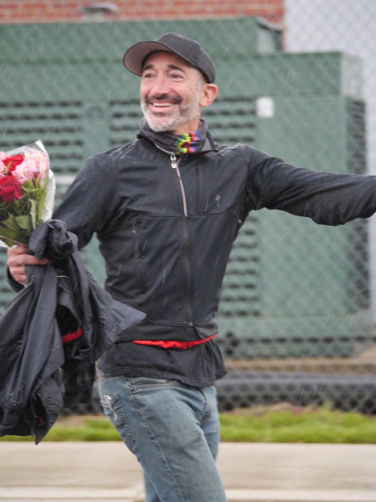 Podium fella Lee was prepared with flowers for Taryn's win!