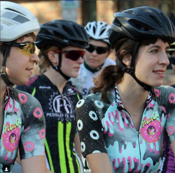 Women at the start line of a bicycle race