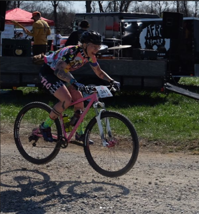 Meghan Dinneen catches air in her first Cat 1 MTB race at Fair Hill, 2018.